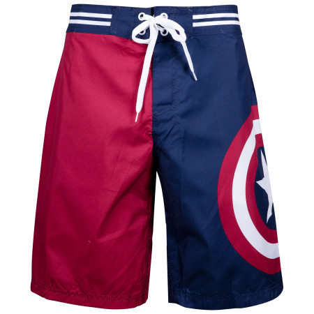 Captain America Men's Blue And Red Swim Shorts