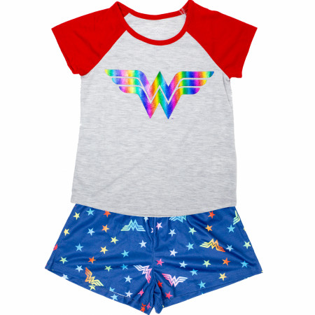 Wonder Woman Girls Youth Sleep Shirt Shorts Set