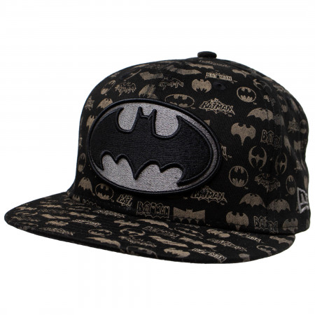 Batman New Era Laser Etched All Over Logos 59Fifty Hat
