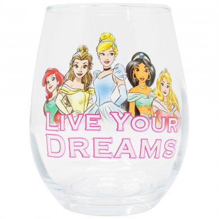 Disney Princess Live Your Dreams Stemless 20 Ounce Wine Glass