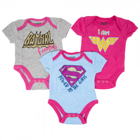 Justice League Girls 3-Pack Infant Bodysuit Set
