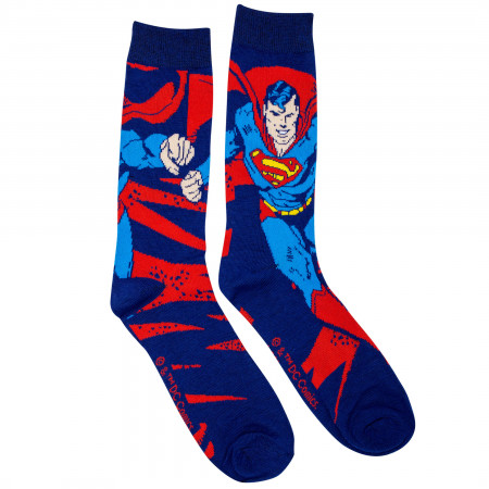 Superman Action Pose Crew Socks