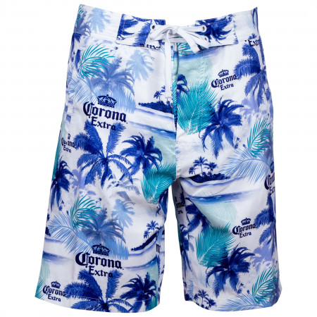 Corona Extra Beer Blue Palms White Board Shorts