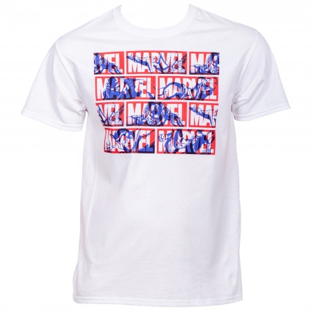 Marvel Brand Text Title with Hero Silhouettes T-Shirt