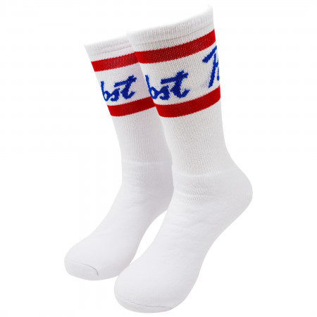 Pabst Blue Ribbon Beer Mid Calf White Socks