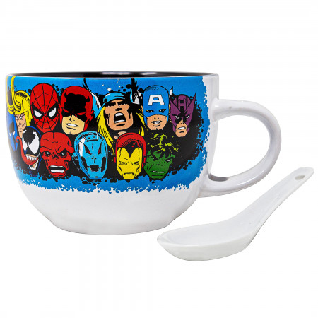 Marvel Retro Character Heads 24 oz Soup Mug with Spoon