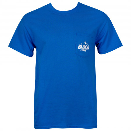 Busch Light Front And Back Print Blue Pocket Tee Shirt