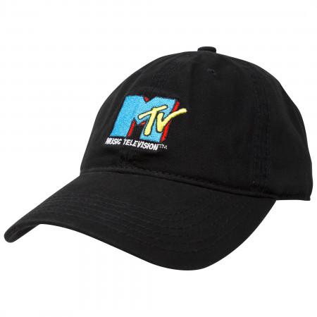 MTV Black Retro Logo Strapback Hat