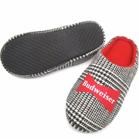 Budweiser Brand Logo Flannel Comfy Slippers with Outdoor Soles