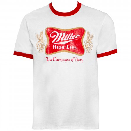 Miller High Life White And Red Ringer Logo T-Shirt