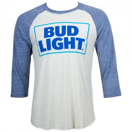 Bud Light Beer Men's Blue And White Raglan T-Shirt