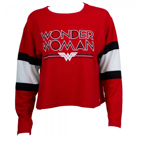 Wonder Woman Juniors Long Sleeve Crop Top