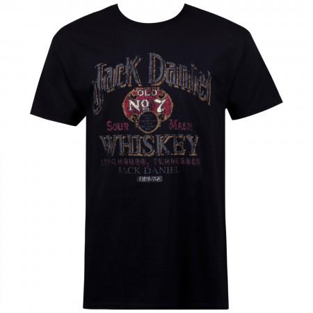Jack Daniels Sour Mash Vintage Poster Men's Black T-Shirt