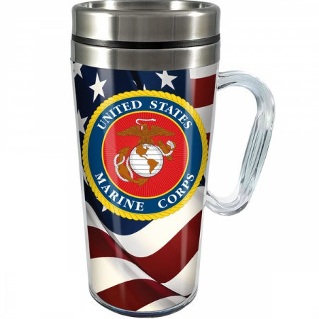United States Marine Corps 14oz Stainless Steel and Acrylic Travel Mug