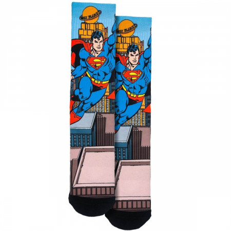 Superman Take Flight Over The City Crew Socks