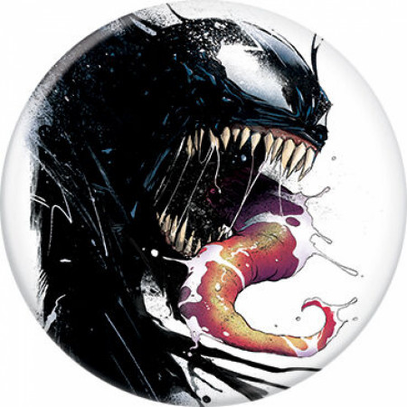 Marvel Comics Venom Character Portrait Symbiote Ink Blot Button