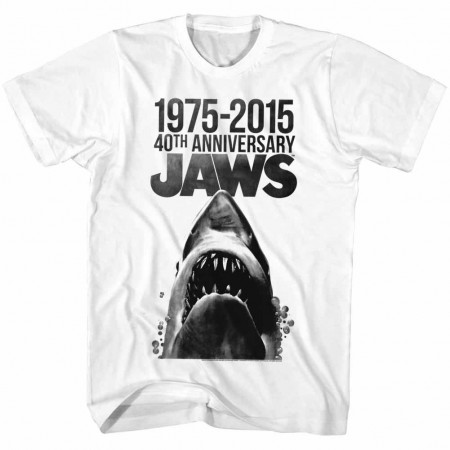 Jaws 40 Years Men's White Cotton T-Shirt