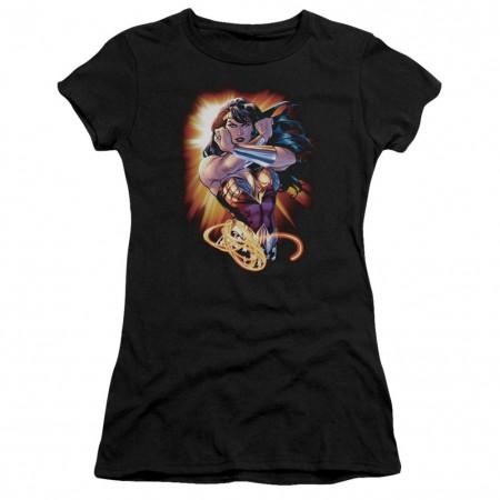 Wonder Woman Rays Women's Black Tshirt