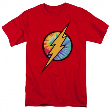 The Flash Tie Dye Logo Red Tshirt