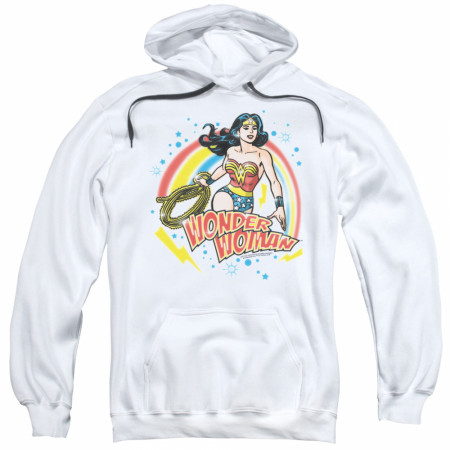 Wonder Woman Retro Airbrush Women's White Hoodie