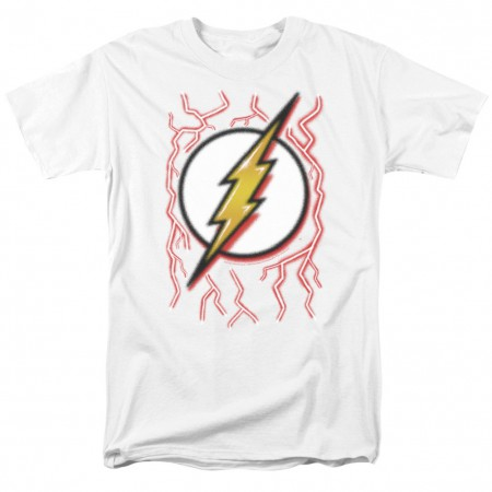 The Flash Airbrushed Logo Men's White T-Shirt