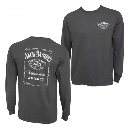 Jack Daniel's Bottle Label Long Sleeve Men's Grey T-Shirt