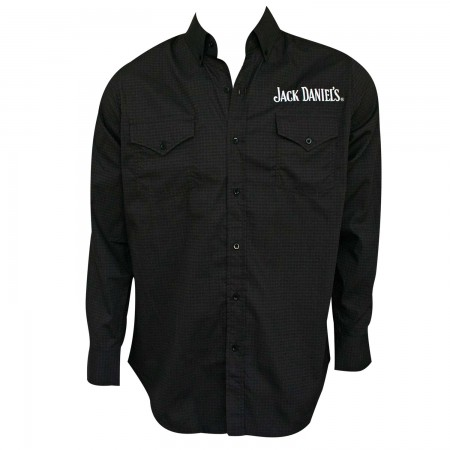 Jack Daniels Long Sleeve Button Up Tie Print Shirt