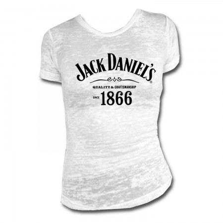 Jack Daniels 1866 Burnout Women's White Tee Shirt