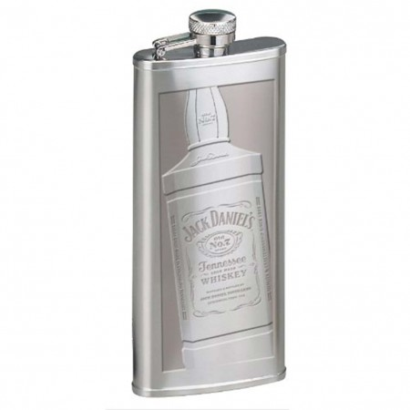 Jack Daniels Silver Etched Whiskey Bottle Flask