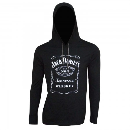 Jack Daniel's Classic Logo Long Sleeve Black Men's Hooded T-Shirt