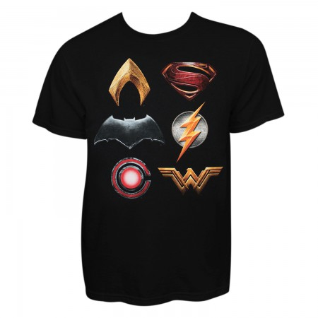 Justice League Men's Black Stacked Logo T-Shirt