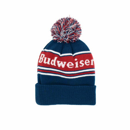 Budweiser Label Text Patch Pom Knit Cuff Beanie