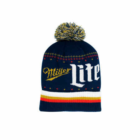 Miller Lite Label Text Knit Cuff Pom Beanie