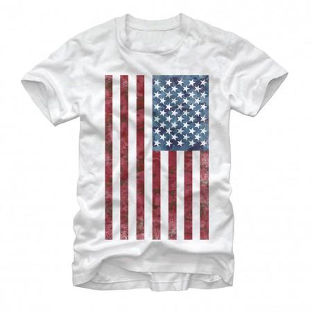 American Flag Patriotic USA White T-Shirt
