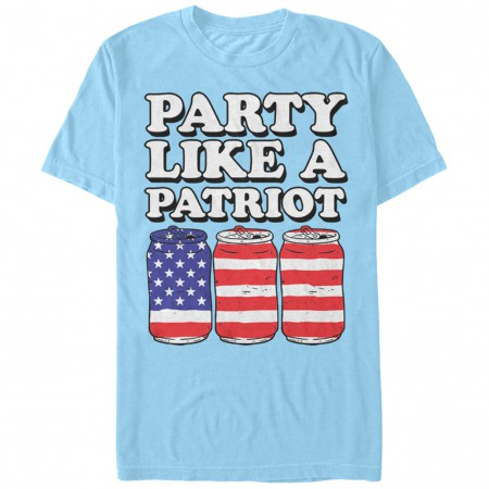 Party Like A Patriot Beer Cans USA Blue T-Shirt