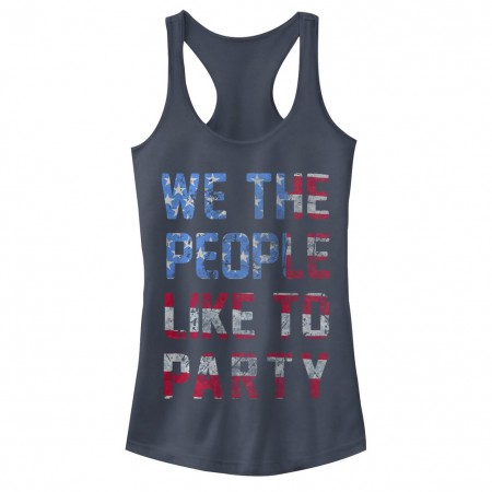 We The People Like To Party Patriotic USA Juniors Blue Tank Top