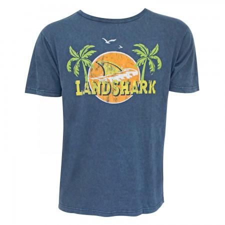 Landshark Lager Navy Blue Palms Logo Tee Shirt