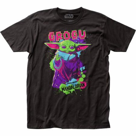 Star Wars The Mandalorian Neon Retro Styled Grogu The Child T-Shirt
