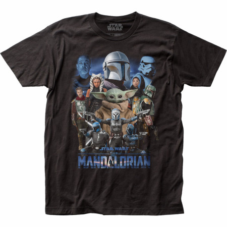 Star Wars The Mandalorian Character Collage T-Shirt