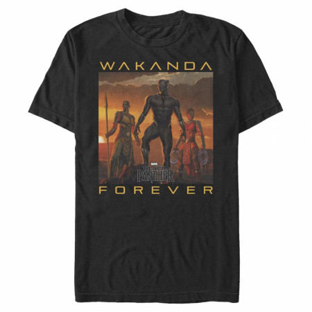 Black Panther Wakanda Forever Heroes Lineup T-Shirt