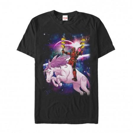 Deadpool Unicorn Tacos Men's Black T-Shirt