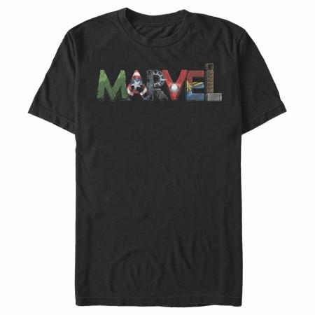Marvel Avengers Text Art T-Shirt