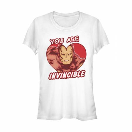 Iron Man You Are Invincible Heart Women's White T-Shirt