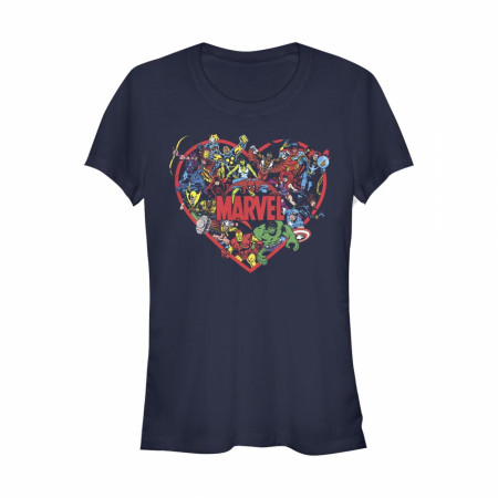 Marvel Heroes Heart Women's Blue T-Shirt