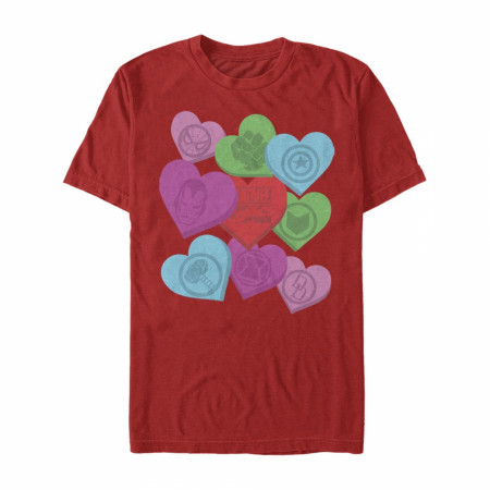 Marvel Heroes Valentine Candy Hearts Red T-Shirt