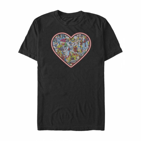 Marvel Characters Heart Black T-Shirt