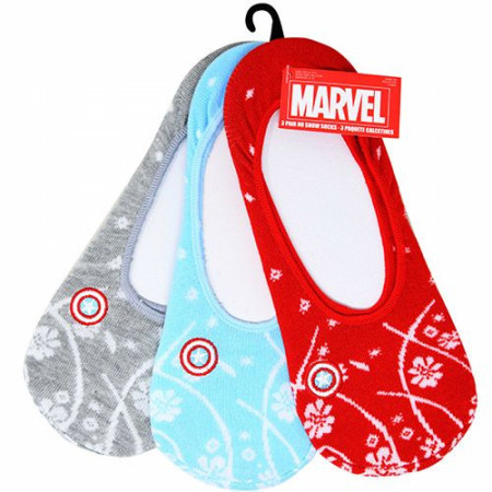 Captain America Comic Retro Floral Women's 3-Pack Ankle Socks
