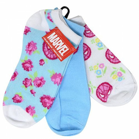 Spider-Man Comic Retro Floral Women's 3-Pack Ankle Socks