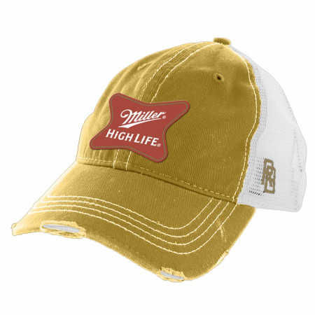 Miller High Life Gold Torn Mesh Retro Brand Trucker Hat