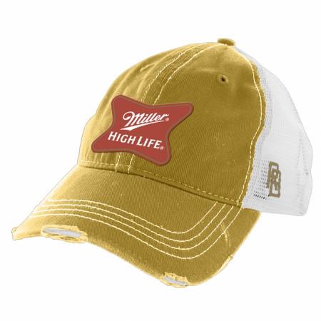 Miller High Life Gold Torn Mesh Retro Brand Trucker Hat